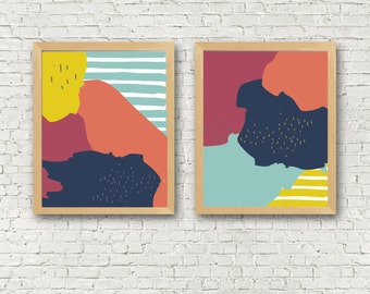 Abstract Set of 2 Bright Wall Art Printables - set of 2 8x10 digital art prints - instant download printable wall art set of 2 - modern art
