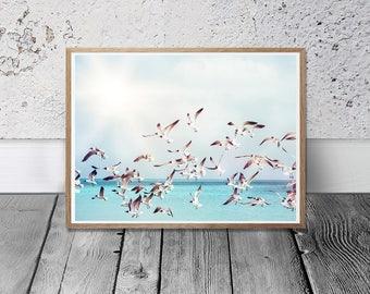 Seagulls Print - Bird Photo, Digital Download, Strand Photo, Birds Printable, Beach decor, Coastal Print, Blue Home Decor, Nursery Wall Art