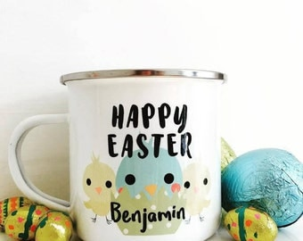 Personalized easter etsy boy easter gift easter enamel mug personalised easter gift childrens easter gift negle Image collections
