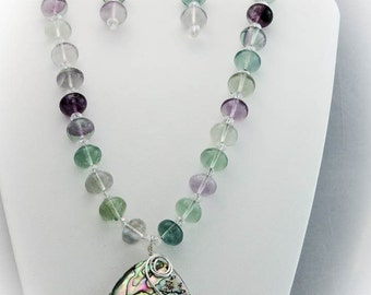 Fluorite and Abalone Necklace, Earrings, and Pendant Set