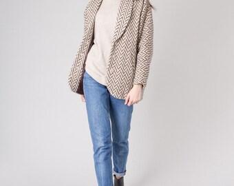 HERRINGBONE jacket WOOL coat camel brown tan batwing pockets Oversize blazer / better Stay together vintage / Medium