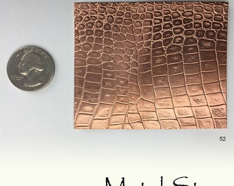 "Textured Copper 24 gauge Sheet Metal 2.5"" x 3"" - Reptile Pattern Solid Copper Sheet Metal 52"