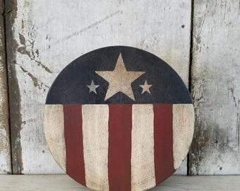 Americana Decor, Country Decor, Primitive Americana, Primitive Decor, Country Primitive, Painted Box, Shaker Style Round Wood Box, Storage
