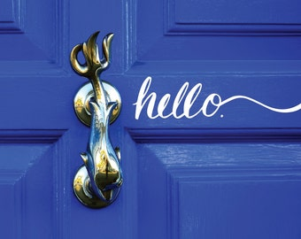 HELLO Door Decal / hello decal, hello wall decal, hello wall art, hello sticker, front door decal, hello vinyl, welcome decal, office decal