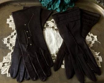 Vintage 1940's Brown Gloves, Glove Set, Vintage Brown Sheer Gloves, Vintage Brown Leather Gloves, Retro