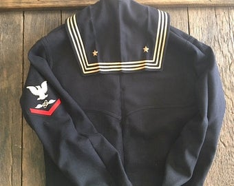 Vintage Wool US Navy Uniform Top - 1940's U.S. Navy Uniform - US Navy Sailor Jumper - Old US Navy Uniform