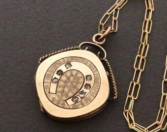 Antique Victorian Horseshoe Locket Necklace, Good Luck, Horse Shoe