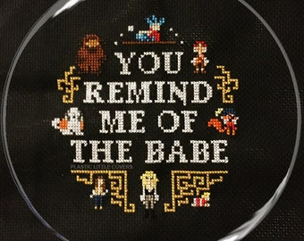 """Cross Stitch Pattern """"You Remind Me of the Babe"""" Labyrinth Inspired Cross Stitch Pattern pdf. Instant Download."""