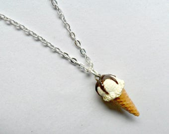 Vanilla With Chocolate Syrup Topping Ice Cream Cone Waffle Cone Necklace, Cute And Kawaii :D