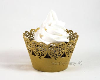 Heart Lace Wedding Cupcake / Muffin Wrappers Gold Shimmer Paper laser cut lace decorations (set of 12)