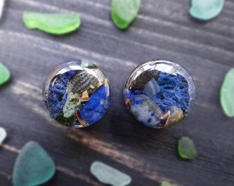 Ocean jewelry plug earrings 16mm 5/8'' ear plugs and tunnels gemstone plugs wedding gauges sea shell lapis lazuli gemstone gauges piercing