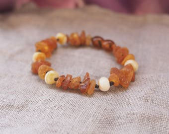 RAW Baltic Amber Teething Baby Bracelet from raw amber multicolored mixed beads