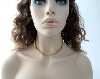Gold Bead Necklace Napier Gold Chain Beaded Necklace Vintage Gold Bead Chain Beaded Necklace Jewelry