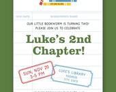 Boys Library Themed Birthday Invitation - Printable