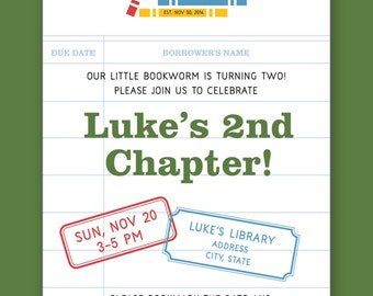 Boys Library Themed Birthday Invitation - Printable