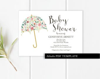 Umbrella Baby Shower Invitation Template | Baby Shower Invitation | Editable PDF Invitation | Baby Shower Printable | Instant Download