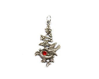 Vintage silver bird pendant, sterling silver, bird nest pendant, pregnancy pendant, red stone, egg nest, silver bird jewelry, dainty