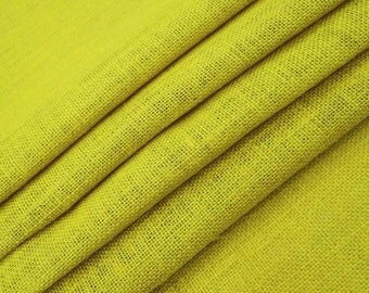 "Yellow Jute Fabric, Natural Fabric, Home Decor Burlap Fabric, Yellow Burlap, Sewing Craft, 50"" Inch Wide Jute Fabric By The Yard ZJC1H"