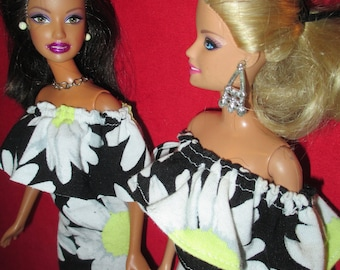 Barbie Clothes Summer Sunflower Ruffle Off shoulder blouse or Dress - FREE Shipping