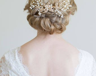 Gold Hair Comb, Gold or Silver Hair Vine, Gold headpiece, Gold leaf comb, Gold hair vine