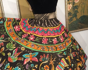 1950s Mexican Circle Skirt -- Hand Painted Flora and Fauna Design in Full Color!