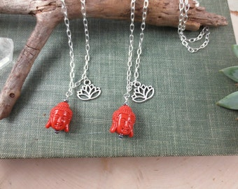 Buddha Necklace, Lotus Flower Necklace, Zen Buddha Head Necklace on Silver Chain