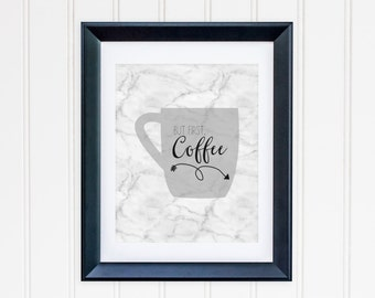 But First Coffee Printable Coffee Bar Sign Coffee Wall Art Coffee Poster Home Office Decor Marble Coffee Sign Arrow Print Black and  White