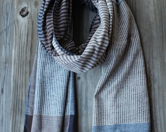 Blanket Scarf for Men Summer Scarf Striped Scarf White Scarf for Women Plaid Scarf Handwoven Scarf Cotton Sarong Khadi Cotton Scarf