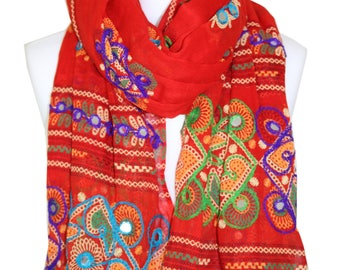 Embroidered Red Scarf with Plastic Mirrors / Cotton Scarf / Summer Spring Scarf / Womens Scarf / Gift for Her / Fashion Scarf / Accessories