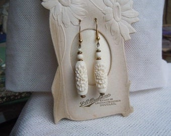 Hand Carved Bone Dangle Earrings