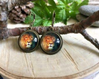 Leo Earrings, Antique Bronze Earrings, Glass Dome Earrings, Dangle Earrings, Animal Jewelry