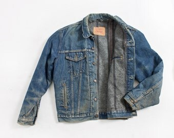 Vintage LEVI'S Denim Jacket - Wool Blanket Lined Jean Jacket 1990s - Large 44""