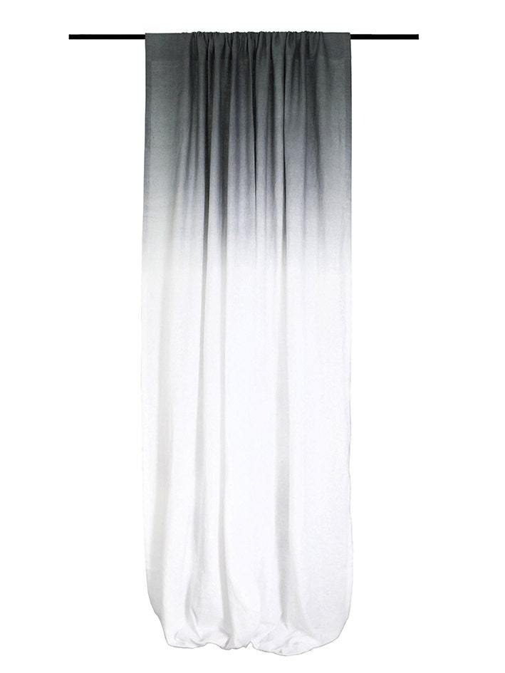 Window Curtain Ombre Grey Fade To White Linen By