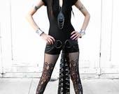 BLACK MATTE BODYSUIT with short sleeves