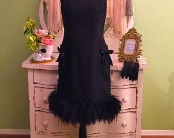 Black Feather Dress, Ostrich Feather, Elegant, Formal Dress, M/ML 8, Black Concert Dress, Anniversary, Evening Dress, Audrey Hepburn Style