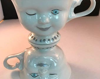 ON SALE Vintage Cups, Baileys Irish Cream Winking Face Coffee Cups by Helen Hunt, Youth Network Edition, Set of 2
