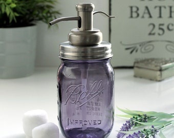 Vintage Purple Glass Ball Mason Jar Soap Dispenser with Stainless Steel Water Well Pump & Lid - *UK SELLER*