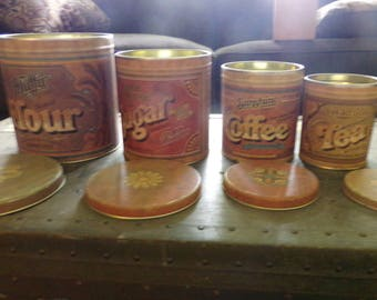 Vintage Kitchen Canister Tins, 1970's Kitchen Canisters, Stacking tin's, 4 stacking tins, Fluffy Flour Advertising, Pentron Industries