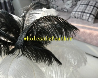 100 pcs white and black ostrich feather plumes for wedding centerpieces wedding decor party event supply