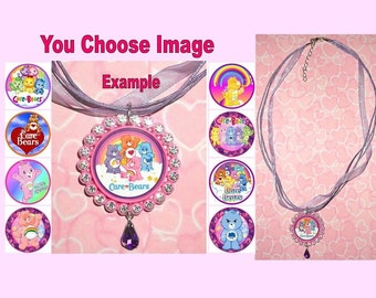 CARE BEARS Childrens Rhinestone Ribbon Necklace You Choose Image & Colours Bottlecap Modern Vintage Carebears Logo Tenderheart Funshine Bear