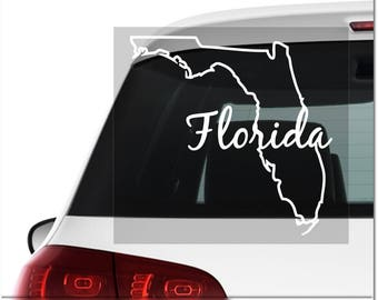 Florida decal, car decal, custom car decals, cute car decals, vinyl decal, custom decals, custom vinyl decal, vinyl decal car