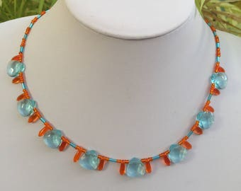 Hand Crafted Blue and Orange Beaded Necklace.