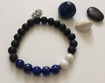 Lapis Lazuli and Matte Black Onyx - 8mm Semi Precious Stones Bracelet with pineapple charm