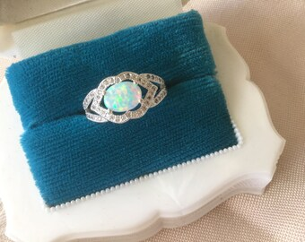 Antique Art Deco Vintage Sterling Silver Ring with oval Opal ring size O