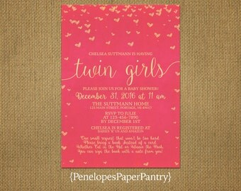 Chic Pink and Gold Twin Girls Baby Shower Invitation,Pink,Gold,Shimmery,Hearts,Book Poem,Shimmery,Sophisticated,Customize,White Envelopes