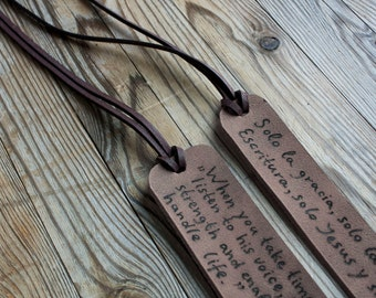 Leather bookmark,Personalized, Anniversary gift, Mens, Womens, Custom Engraved Leather, gift for reader, Wedding,  Coordinates