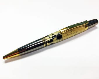Dalmatian Jasper Stone, Handmade Ballpoint twist pen. Hand Turned with Gunmetal with Gold Accents-Handmade Gift