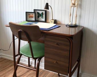 Mid Century Desk with Chair & Gooseneck Light, Mid Century Modern Home Office Furniture, Minimalist Computer Desk, Vintage Desk with Chair