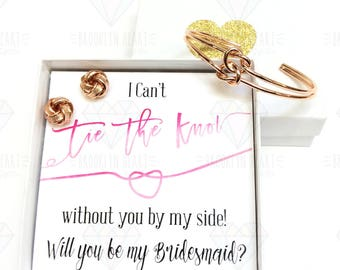 Bridesmaid Gift Rose Gold, Gold Silver Tie the Knot Bracelet Set, Love Knot Bracelet Bridesmaid Gift Jewelry Maid of Honor Gifts Will You Be