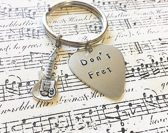 Don't Fret hand stamped guitar keychain guitar pick keychain boyfriend gift husband gift guitar player gift gifts for him guitar puns